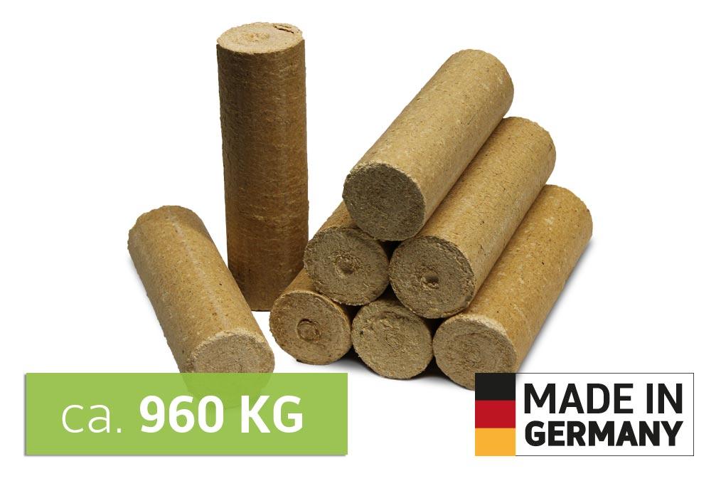 Holz Briketts auf Palette - Nadelholz Retax eco